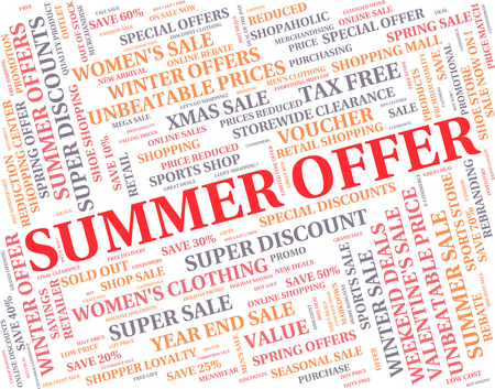 Summer Offer Showing Hot Weather And Save Stock Photo