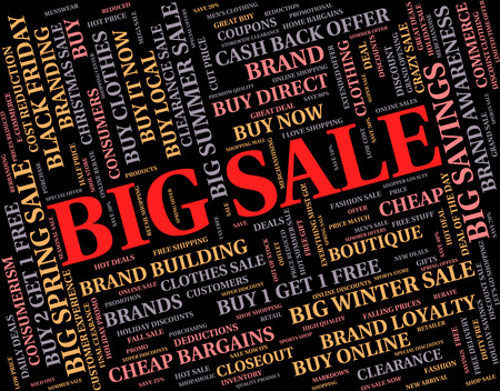 bargains: Big Sale Showing Text Words And Bargains Stock Photo