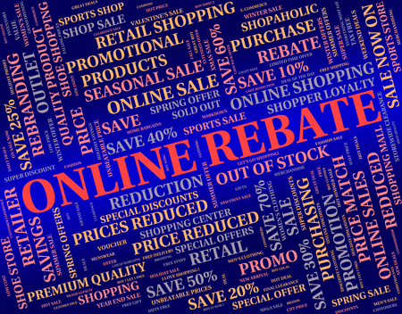 repayment: Online Rebate Representing World Wide Web And Partial Refund Stock Photo