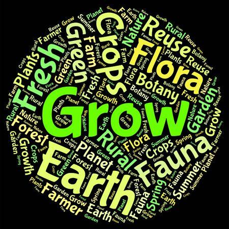 siembra: Crecer palabra que significa cultivar y Agricultura Siembra Foto de archivo