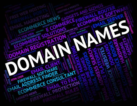 dominions: Domain Names Showing Moniker Tag And Designation Stock Photo