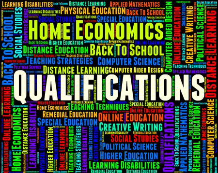 qualifications: Qualifications Word Indicating Adept Licensed And Text