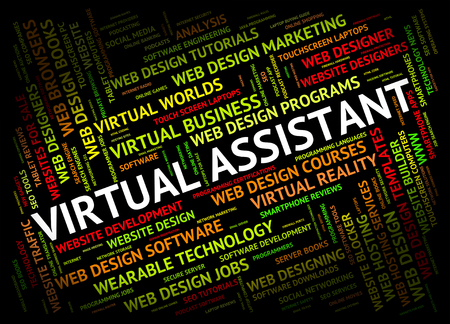 Asistente Virtual Indicando Contrato fuera y Freelance Foto de archivo - 46508805