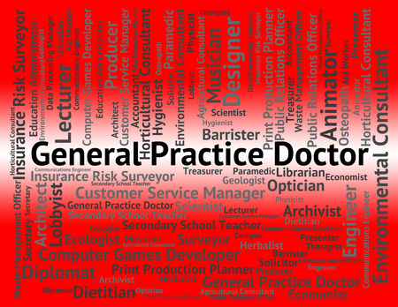 general practice: General Practice Doctor Indicating Medical Person And Position