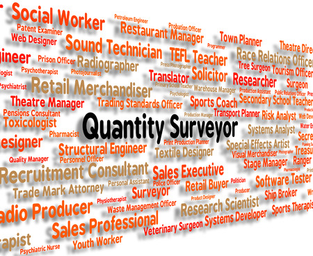 surveyor: Quantity Surveyor Representing Occupations Amount And Job Stock Photo