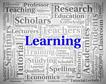 educated: Learning Word Indicating Educated Studying And University Stock Photo