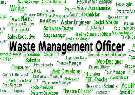 managing waste: Waste Management Officer Representing Garbage Text And Rubbish Stock Photo