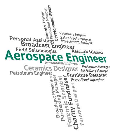 aerospace: Aerospace Engineer Indicating Word Position And Aeronautics Stock Photo