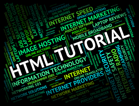 hypertext: Html Tutorial Meaning Hypertext Markup Language And Online Tutorials Stock Photo