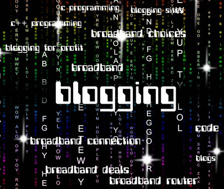 blogger: Blogging Word Meaning Weblog Online And Blogger Stock Photo
