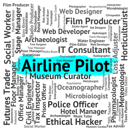 airline pilot: Airline Pilot Showing Recruitment Airlines And Airwoman Stock Photo