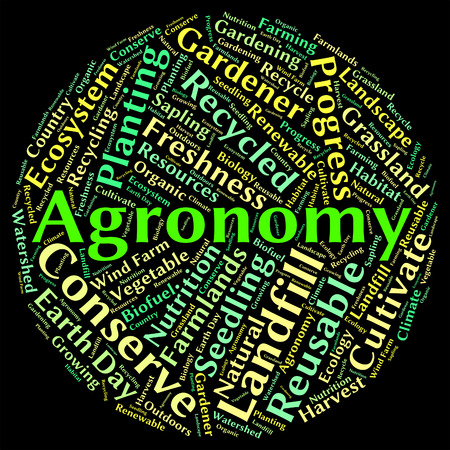 farmstead: Agronomy Word Showing Cultivates Agrarian And Agronomics Stock Photo