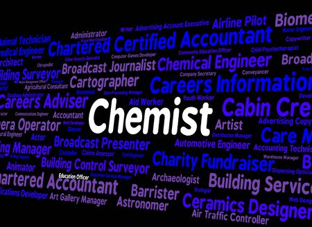 examiner: Chemist Job Indicating Lab Technician And Chemicals Stock Photo