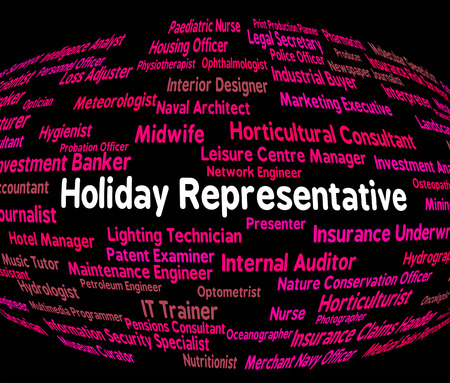 salesmen: Holiday Representative Indicating Go On Leave And Salesmen Employment Stock Photo