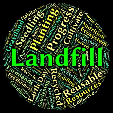 dispose: Landfill Word Representing Refuse Heap And Dispose