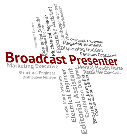 telecast: Broadcast Presenter Meaning Anchor Person And Announcement Stock Photo