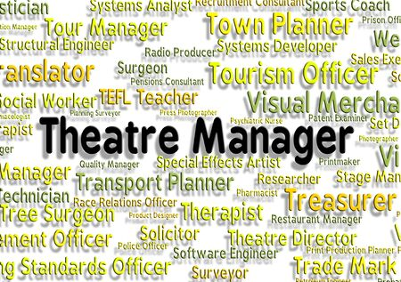 overseer: Theatre Manager Representing Occupations Supervisor And Stage Stock Photo