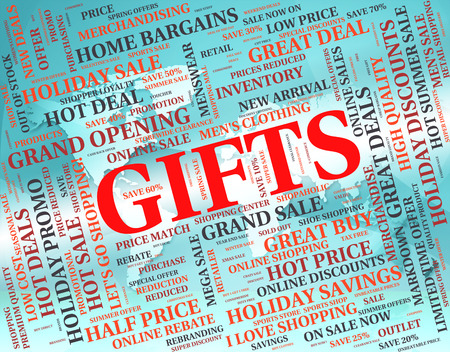 giftbox: Gifts Word Meaning Present Giftbox And Package Stock Photo
