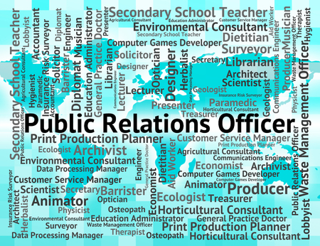 relations: Public Relations Officer Representing Press Release And Hire Stock Photo