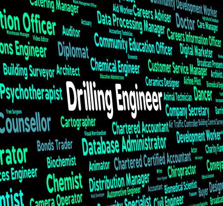 pozo petrolero: Ingeniero de Perforación Mostrando del pozo de petróleo y la palabra
