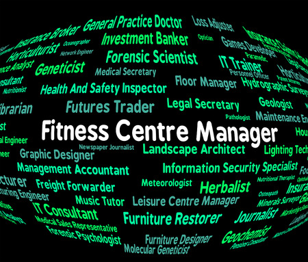 overseer: Fitness Centre Manager Indicating Training Occupation And Words Stock Photo