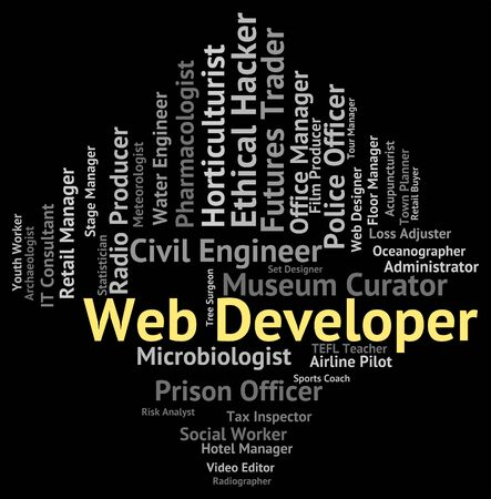 designer at work: Web Developer Representing Searching Employment And Word
