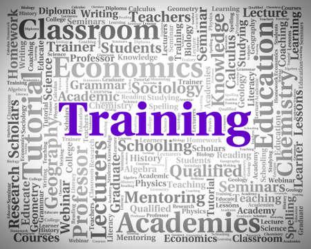 instructing: Training Word Indicating Instructing Seminar And Education Stock Photo