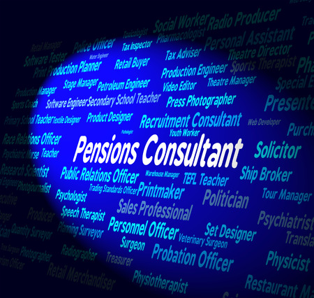 advisers: Pensions Consultant Representing Benefit Career And Recruitment Stock Photo