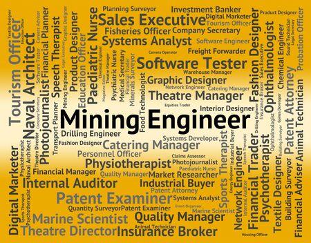mineria: Ingeniero de Minas En representaci�n del mec�nico de texto y colocarlas Foto de archivo