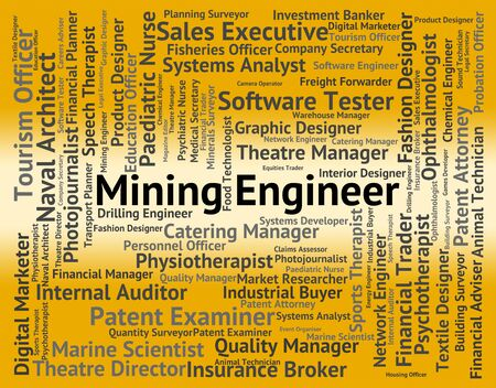 mining: Mining Engineer Representing Text Mechanic And Position