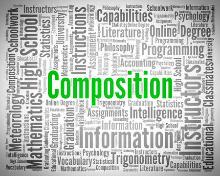 literary: Composition Word Representing Literary Work And Scrawl Stock Photo