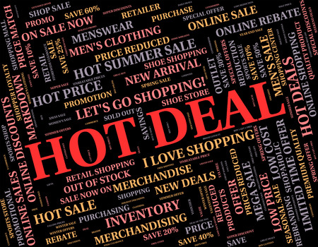 discounted: Hot Deal Indicating Bargain Discounted And Promo