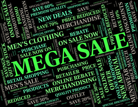 mega sale: Mega Sale Meaning Offers Large And Offer Stock Photo