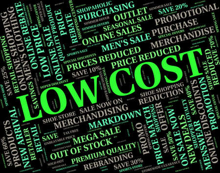 priced: Low Cost Representing Moderately Priced And Budget Stock Photo