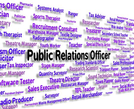relaciones publicas: Public Relations Officer Showing Press Release And Occupations