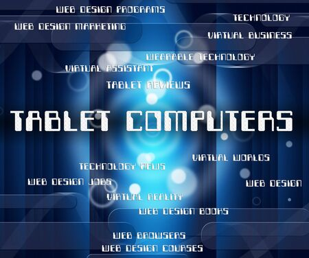 processor: Tablet Computers Representing Processor Connection And Word Stock Photo