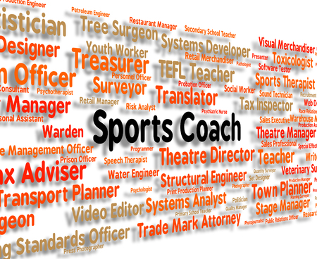 sports coach: Sports Coach Representing Physical Exercise And Word