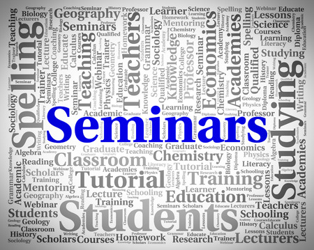 forums: Seminars Word Representing Present Text And Forums Stock Photo