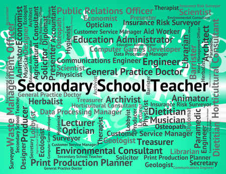 secondary school: Secondary School Teacher Indicating Senior Schools And Work Stock Photo