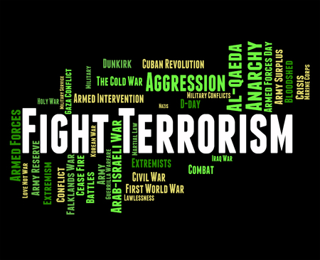 suppress: Fight Terrorism Representing Stop Sign And Hostile