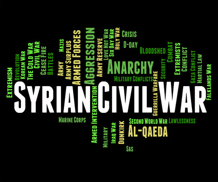 clashes: Syrian Civil War Meaning Bashar Al-Assad And Wordcloud Stock Photo