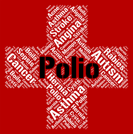 poor health: Polio Word Representing Poor Health And Sick Stock Photo