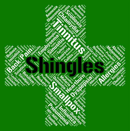 affliction: Shingles Word Showing Ill Health And Affliction