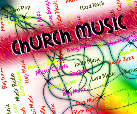 house of worship: Church Music Representing Place Of Worship And House Of God Stock Photo