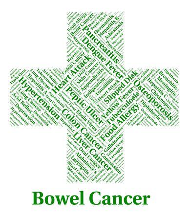 bowel: Bowel Cancer Representing Large Intestines And Disease