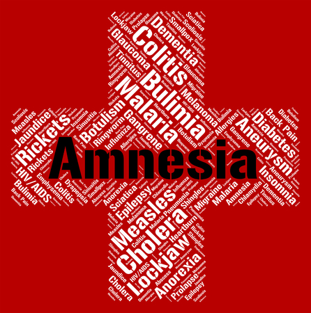 amnesia: Amnesia Word Indicating Loss Of Memory And Ill Health Stock Photo