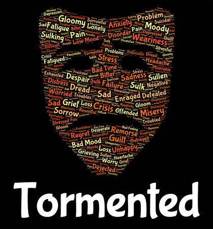 Tormented Word Showing Pains Distressed And Distress Stock Photo