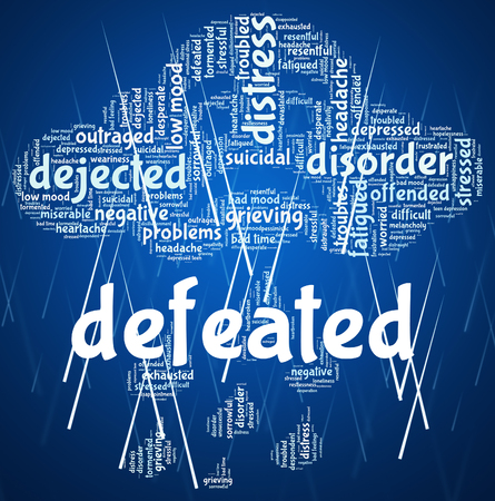 defeated: Defeated Word Showing Trounce Conquered And Lost Stock Photo
