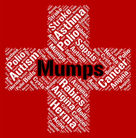 poor health: Mumps Word Representing Poor Health And Disorders Stock Photo