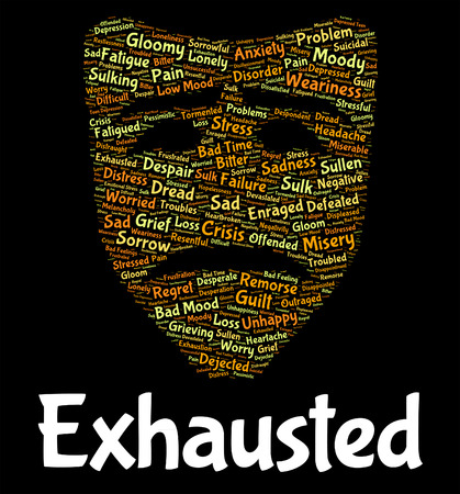 worn: Exhausted Word Meaning Worn Out And Text Stock Photo
